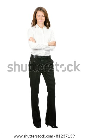 Full body portrait of happy smiling young cheerful business woman, isolated on white background