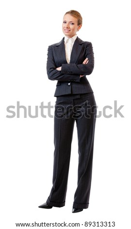 Full body portrait of happy smiling young cheerful business woman, isolated on white background - stock photo