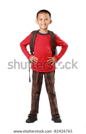 full body portrait of little boy back to school - stock photo