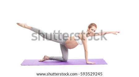 Set Yoga Poses Isolated On White Stock Photo 135301244 ...