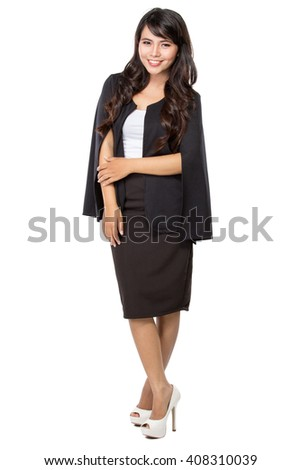 full body portrait of Smiling beautiful young business woman isolated on white background