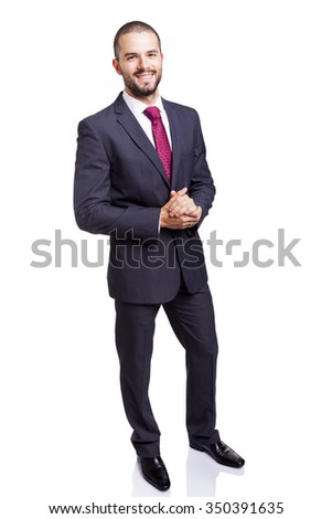 Full body portrait of smiling business man, isolated on white background - stock photo