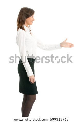 Full body portrait of smiling business woman giving hand for handshake, isolated on white background. Success in business concept.