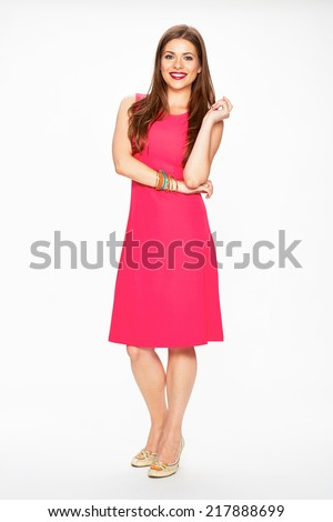 Full body portrait of smiling woman in red dress. Fashion portrait. - stock photo