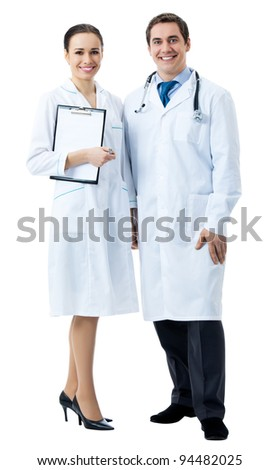 Full body portrait of two happy smiling young medical people, isolated over white background - stock photo