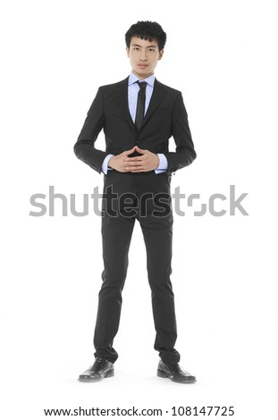 Full body portrait of View of happy executive standing