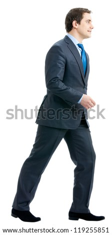 Full body portrait of walking business man, isolated over white background