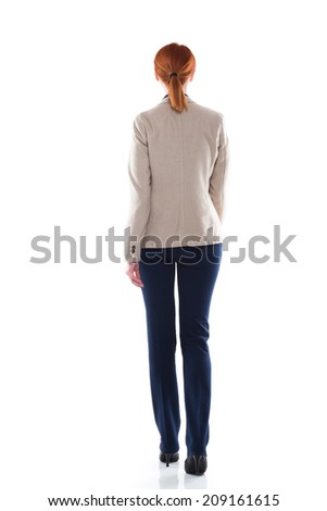 Full body portrait of walking businesswoman. Back view. Isolated on white - stock photo
