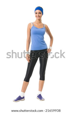 Full body portrait of woman in sportswear, isolated on white