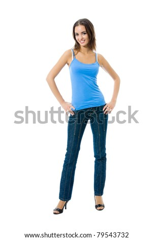 Full body portrait of woman in sportswear, isolated on white background - stock photo