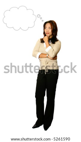 Full body portrait of young Asian businesswoman in thoughtful position, chin resting on fingers.