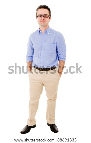 Full body portrait of young casual man with glasses smiling, isolated on white - stock photo