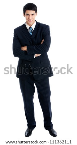 Full body portrait of young happy smiling cheerful business man, over white background