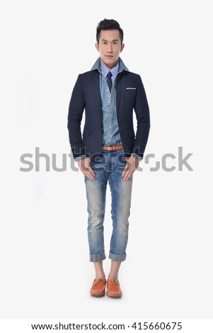 Full body Portrait of young men in jeans posing   - stock photo