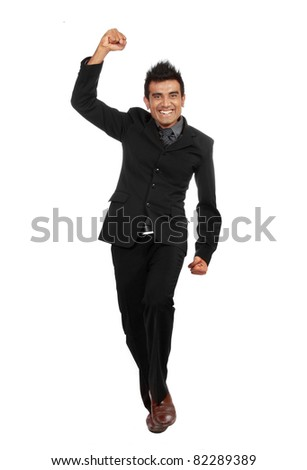 full body portrait of young successful businessman - stock photo