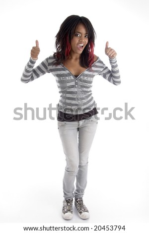 full body pose of punk teenager on an isolated white background - stock photo