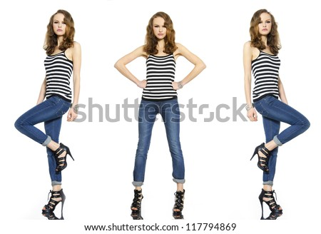 Full body Pretty three young woman in stripy t-shirt and jeans, - stock photo