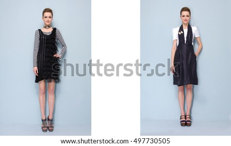 Full body Pretty young two girl in a fashion pose-gray background