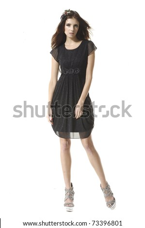 Full body shot of a beautiful girl, isolated on white background - stock photo