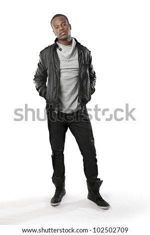 Full body shot of a casually dressed young black male - stock photo