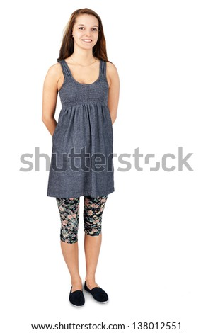 Full body shot of a natural beautiful young woman in casual clothes over white - stock photo