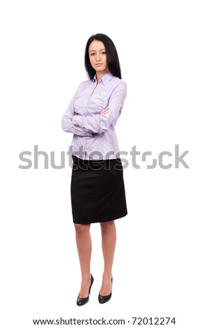 Full body shot of an attractive hispanic businesswoman isolated on white background