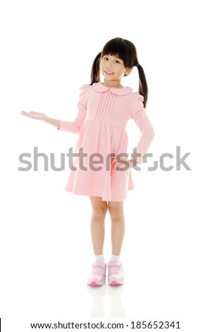 Full body shot of asian girl showing her empty hand. Isolated on white - stock photo