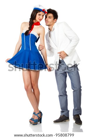 Full body shot of elegant young man and sailor woman. Isolated on white background. High resolution studio image - stock photo