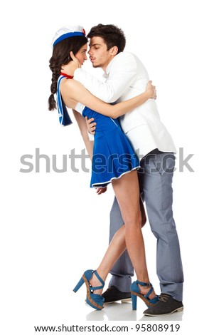 Full body shot of elegant young man seducing sailor woman. Isolated on white background. High resolution studio image