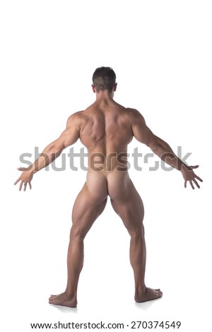 Full Body Shot of Fit Naked Man Striking a Pose Facing Back, Isolated on White Background. - stock photo