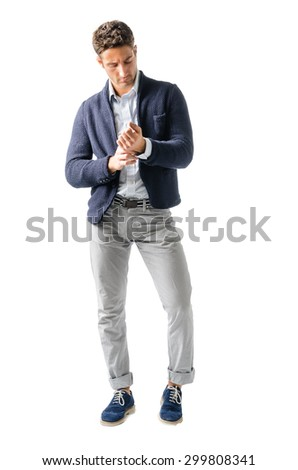 Full body shot of handsome young man with shirt and jacket, isolated on white - stock photo
