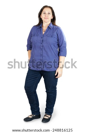Full body shot of middle-aged woman on white - stock photo