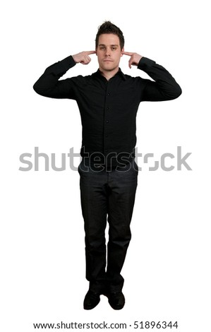 Full body shot of young man with fingers in ear not listening isolated on white - stock photo
