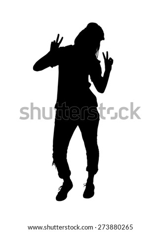 Full body silhouette of a young female in a tough pose making the peace or victory sign with both hands.