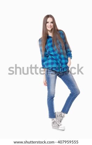 Full body Smile girl in jeans posing  - stock photo