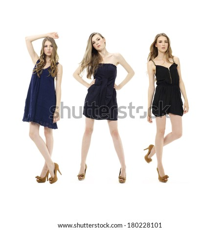 Full body three young woman in black clothing posing on white background