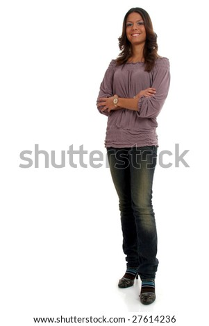 Full body view o attractive woman in casual wear, standing. Isolated on white. - stock photo