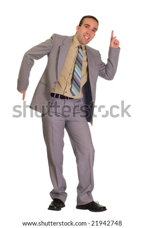 Full body view of a businessman doing some dance moves