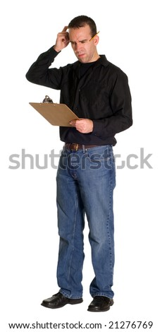 Full body view of a confused worker, isolated against a white background - stock photo