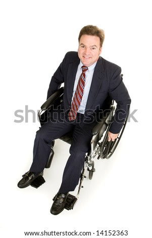 Full body view of a disabled businessman taken from above.  Isolated on white.