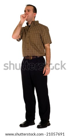 Full body view of a male employee coughing, isolated against a white background - stock photo