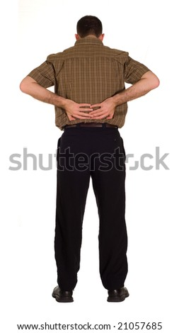 Full body view of a man suffering from back pain, isolated against a white background - stock photo