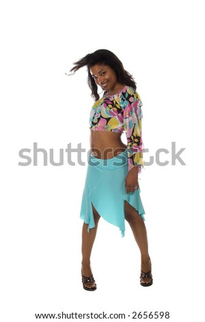 Full body view of a sexy young Black woman in a blue skirt and a retro 60's pattern cropped blouse