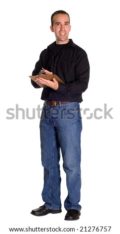 Full body view of a supervisor holding a clipboard, isolated against a white background - stock photo