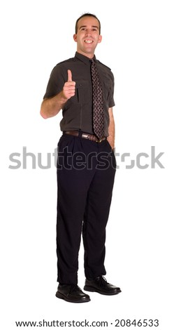 Full body view of a very positive employee giving a thumbs up
