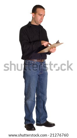 Full body view of a worker taking inventory, isolated against a white background - stock photo