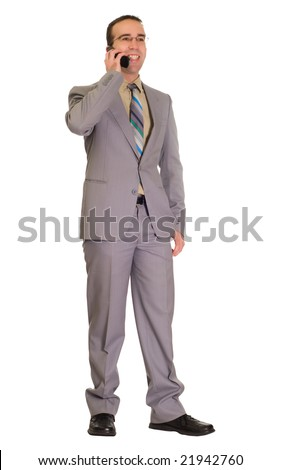 Full body view of a young businessman talking on a cell phone, isolated against a white background - stock photo