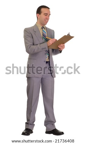 Full body view of a young businessman working on a checklist on a clipboard, isolated against a white background
