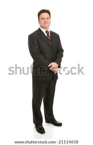 Full body view of handsome businessman in his forties.  Isolated on white. - stock photo