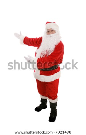 Full body view of Santa Claus with his arms raised in a presenting gesture.  Isolated on white. - stock photo